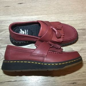 Dr Martens Edison unisex cherry red leather loafer